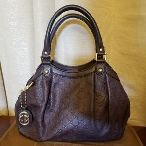 Gucci Sukey Brown Leather Shoulder Bag